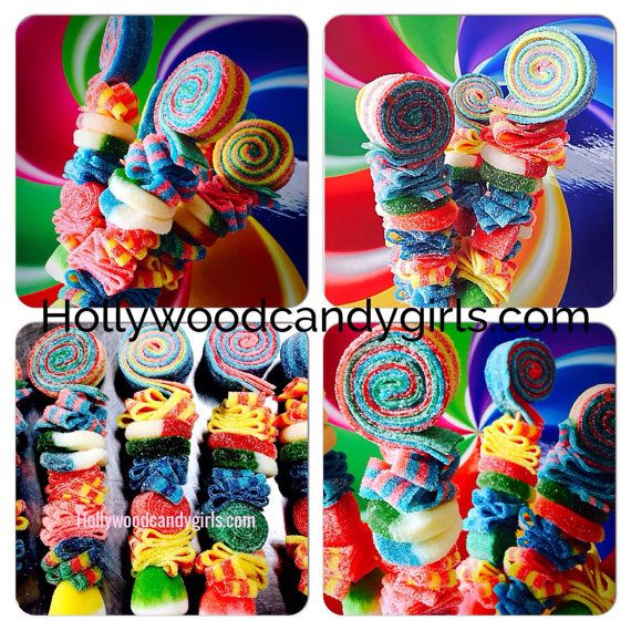 We are The Hollywood Candy Girls and our world and business consist of all things candy and wed like to welcome you into our crazy lil Candy World! OUR MOST POPULAR FUN FAVORS! ORDERING 25 Buy a bunch and make your own centerpieces!!! These Custom Candy Stick Kabobs, Sweet