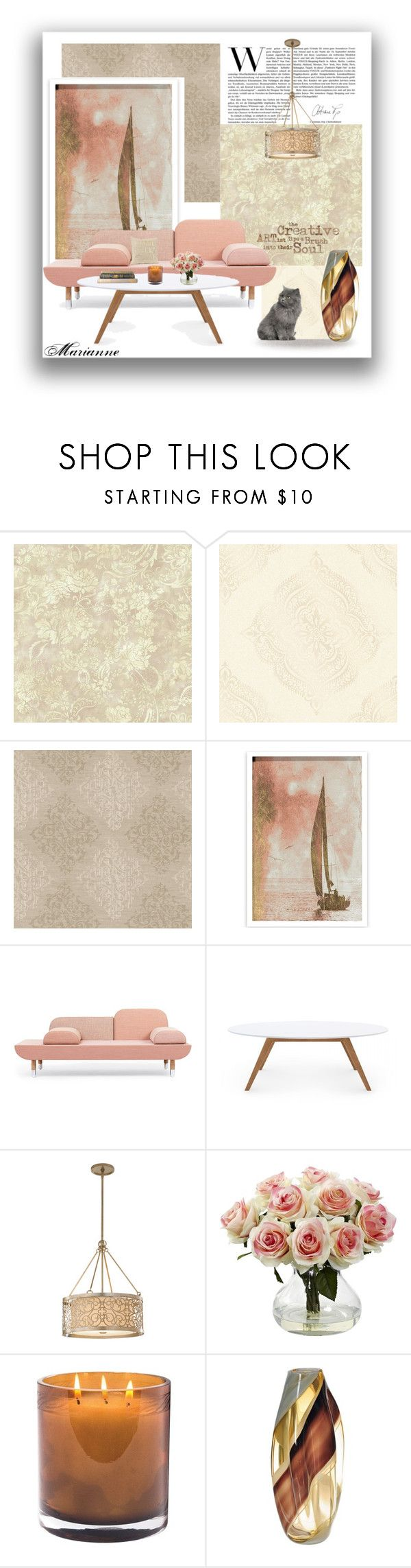 """Home 5"" by marianne-spiessens on Polyvore featuring interior, interiors, interior design, home, home decor, interior decorating, York Wallcoverings, Oliver Gal Artist Co., Rove Concepts and Murray Feiss"