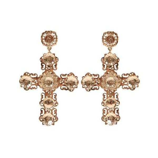 DOLCE CROSS EARRINGS (270 CNY) ❤ liked on Polyvore featuring jewelry, earrings, cross jewellery, crucifix earrings, cross earrings, cross jewelry and earring jewelry