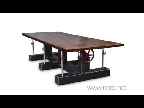 Extra large Crank conference table, built by Vintage Industrial in Phoenix. This has an adjustable height so you can sit or stand at your next meeting!