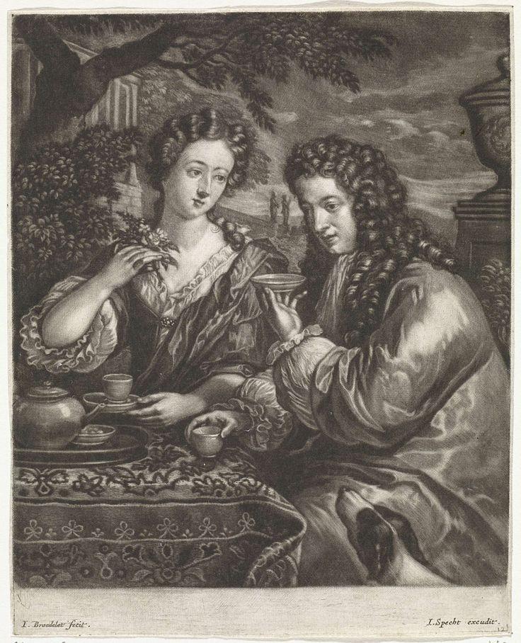 Jan Broedelet | Een man en vrouw drinken koffie of thee in de tuin, Jan Broedelet, Caspar Specht, 1690 - 1700 | In een klassieke tuin zitten een man en een vrouw koffie of thee te drinken aan een tafel. De vrouw heeft enkele bloemen in de hand.