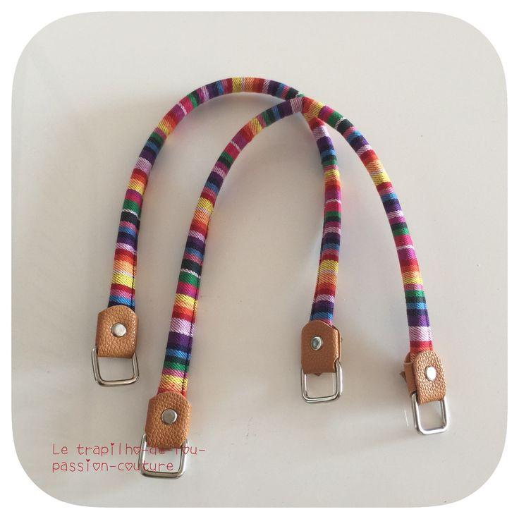 1 paire d'anses/poignées de sac à main en tissus multi couleurs : Fermoirs sac, porte-monnaie par le-trapilho-de-lou-passion-couture