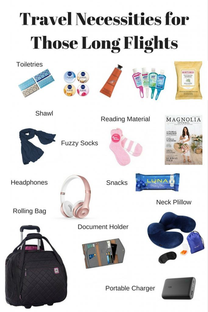 Carry-on essentials for a long flight. Airplane rides can be tedious. Make it better by making sure you are carrying the right things with you!