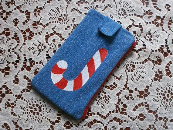 Candy phone case / fun and safe phone case / jeans fabric phone case with zipper pocket / denim case / multifunctional / positive / NY gift