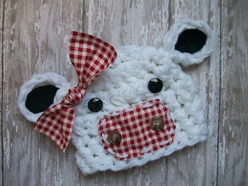 Baby Girls Cow Hat Removable Bow Crocheted Farm Animals Photo Props Newborn | eBay