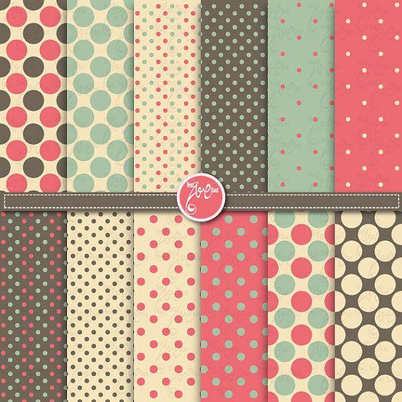 polka dot digital paper packVintage digital paper by YenzArtHaut, $3.50