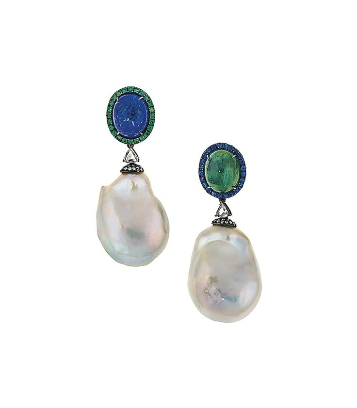 A pair of cultured pearl, emerald, tanzanite and sapphire earrings #christiesjewels