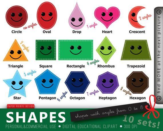 10 SETS Educational Clipart Shapes Clipart by PaperPrintsDesign