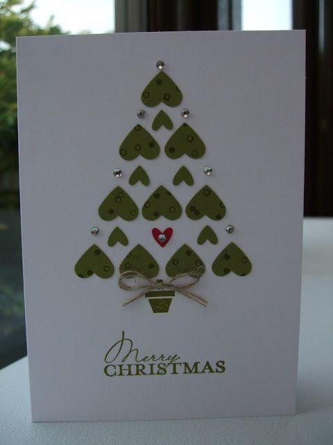 DIY christmas card. Christmas tree with hearts.