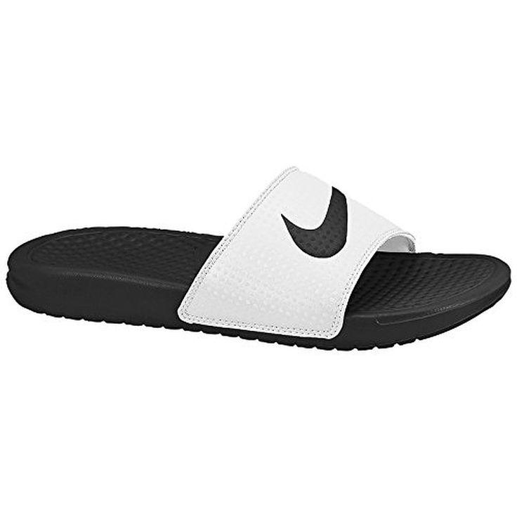 Nike Benassi Swoosh White Black Womens Sandals 9 US >>> Visit the image  link more details.