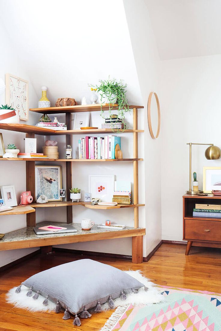 I LOVE her sit-on-the-floor desk!!! Midcentury Bright Home Office Emily Henderson