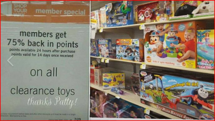 Kmart - Clearance toys 75% back in points! Stock up!