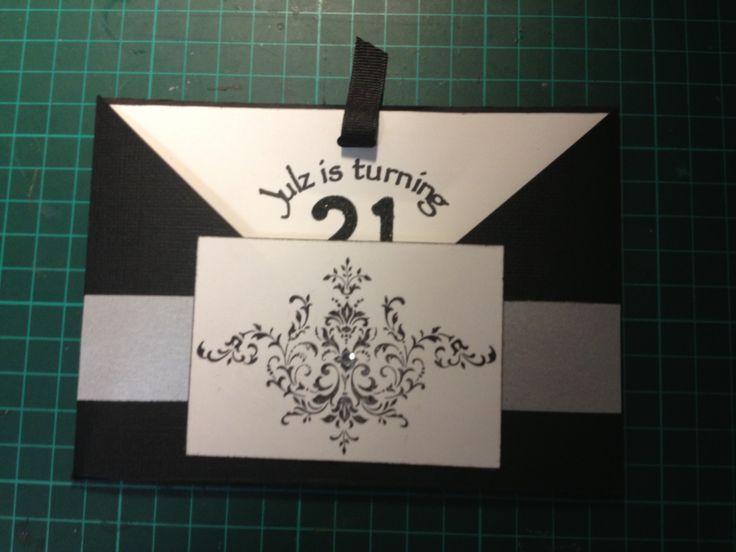 21st Invite, pocket style, black & white themed party