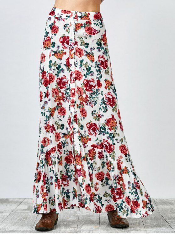 [$ 35.99] Button Up Floral Maxi Skirt - WHITE S