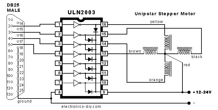 Stepper Motor Controller with Parallel Port Schematic
