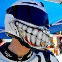 Smokin' helmet, custom design with grinning heath, black visor, white helmet