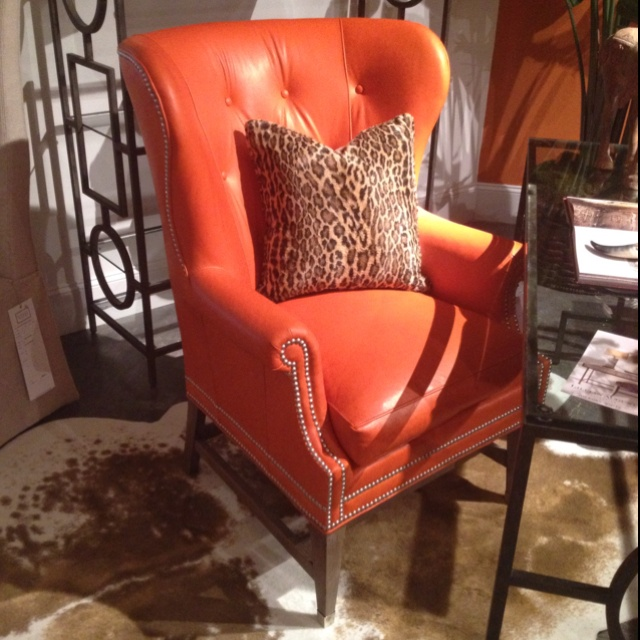Lillian August Orange Leather Chair W/o That Pillow.
