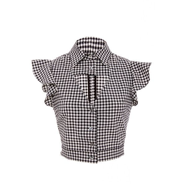 Marissa Webb     Denise Gingham Cropped Blouse ($300) ❤ liked on Polyvore featuring tops, blouses, plaid, cropped tops, white tops, plaid blouse, gingham blouse and frilly blouse