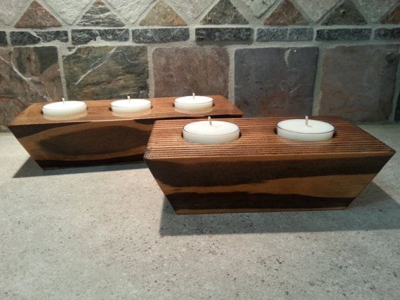 Wooden Tealight Holders  Set of 2  Unscented Soy Tea Lights Included by SugarBelleCandles