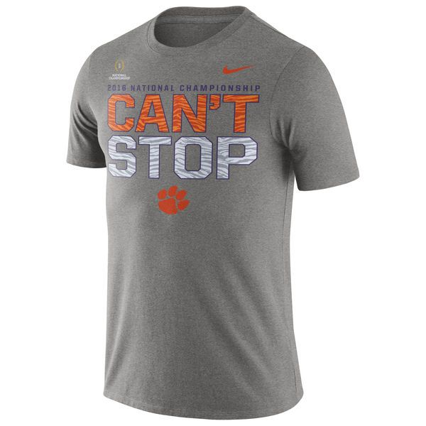 Clemson Tigers Nike 2016 College Football Playoff National Championship Bound Can't Stop Legend Performance T-Shirt - Gray - $22.99