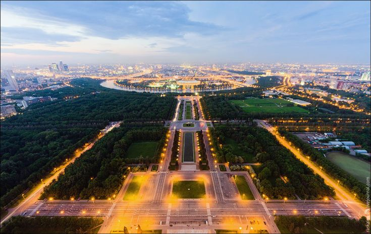 Moscow River, Luzhniki Arena and park of Moscow State University