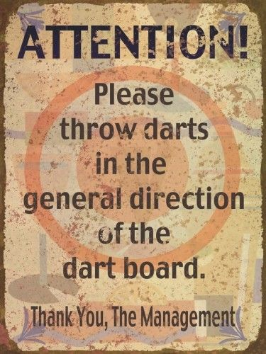 Throw Darts at Dart Board | Funny Tin Sign | Retro Sign | A Simpler Time | A Simpler Time