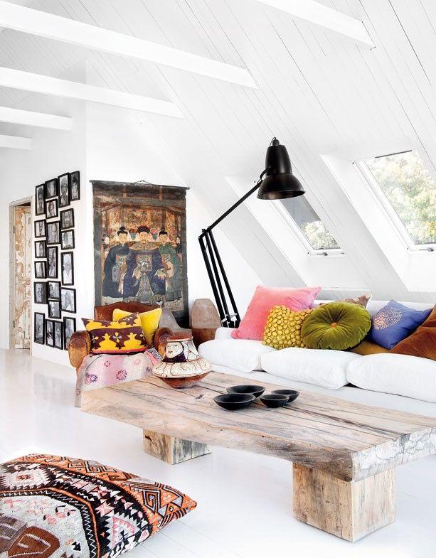 Eclectic-Scandinavian-style-Swedish-home-white-wood-cofee-table-ethnic