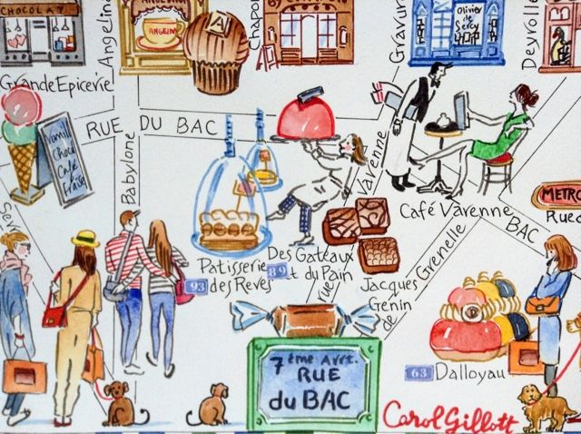 "Amazing artwork by Carol Gillott of ParisBreakfasts, showing the patisseries to visit in Rue du Bac.  Carol is the artist for the map in the endpapers of my new book, ""Teatime in Paris!"""