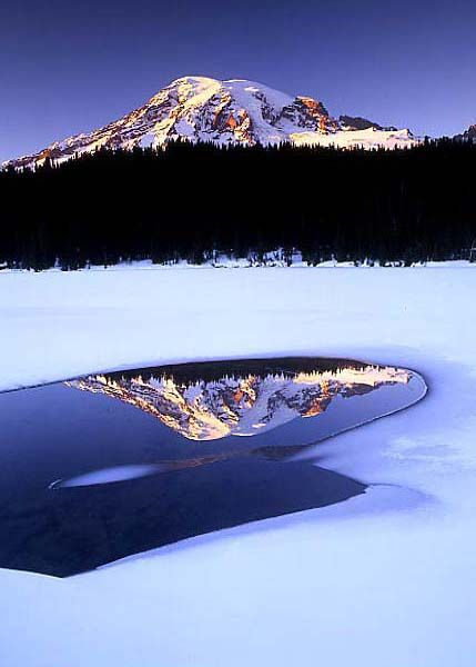 Reflection of the Mt. Rainier , Washington / Photo by Dave Schiefelbein.