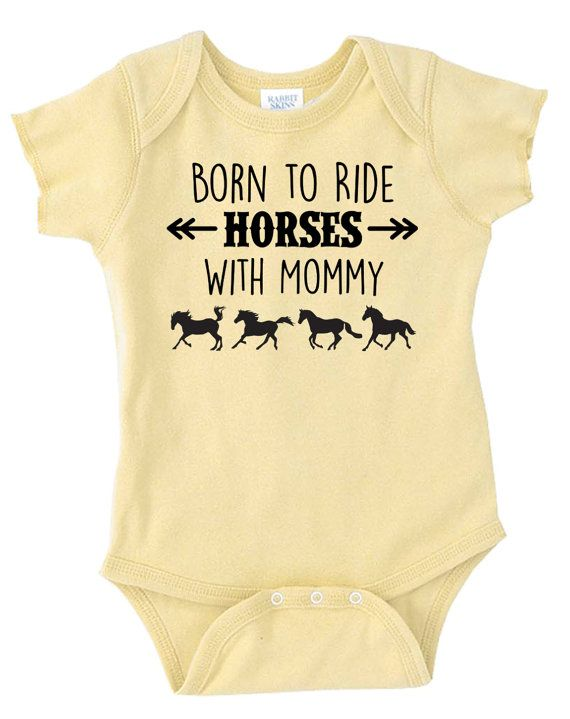 Born to Ride paarden met mama Baby Onesie door EquestrianCreations