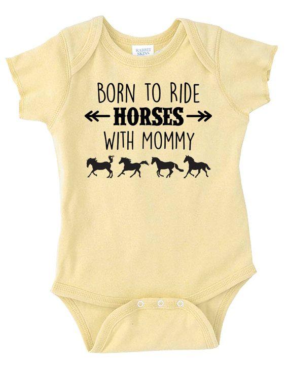 Born to Ride paarden met mama Baby Onesie door EquestrianCreations