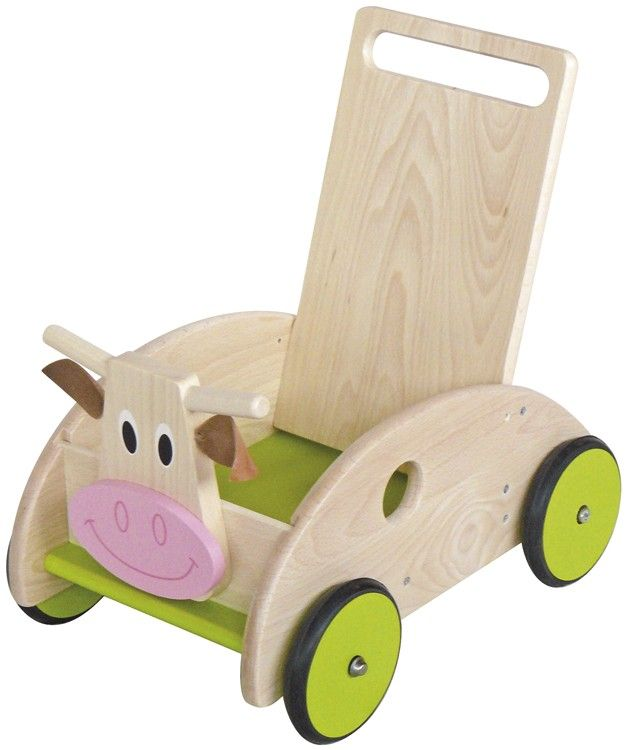 Ce chariot de marche vache avec frein de la marque Scratch accompagnera les premiers pas de bébé en toute sécurité. A partir de 1 an+ et jusqu'à 3 ans
