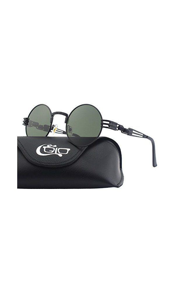 71b7fc9f7e5 CGID E72 Retro Steampunk Style Inspired Round Metal Circle Polarized  Sunglasses Deal Price   12.90 Buy