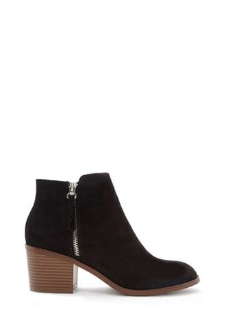 Zipped Faux Suede Booties | Forever 21 - 2000164400