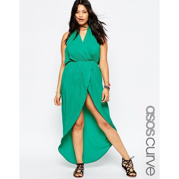 ASOS CURVE Plunge Maxi Beach Dress ($13) ❤ liked on Polyvore featuring dresses, emerald, plus size, white dress, plus size beach dresses, white plunge dress, white beach dress and plunge maxi dress