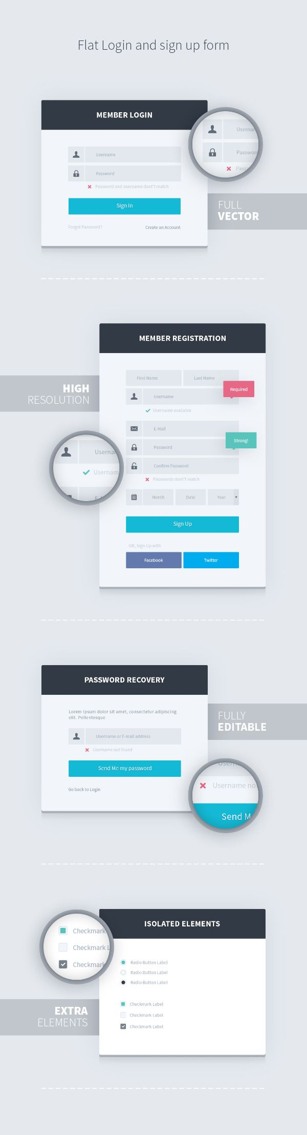 Flat Login and Sign Up Form is a PSD kit that includes three flat designed user forms: Login, Registration, and Password Recovery. Every element can be easily edited with Adobe Photoshop.Specifications:- High Resolution- Fully Editable- Easy to Use…