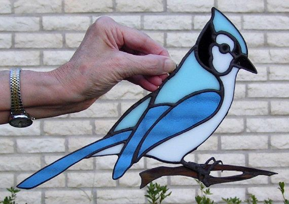 Stained Glass Blue Jay by WexfordStainedGlass on Etsy, $30.00