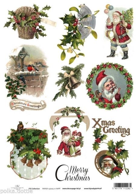 rice paper decoupage decopatch sheet vintage christmas greetings santa holly no l nouvel an. Black Bedroom Furniture Sets. Home Design Ideas