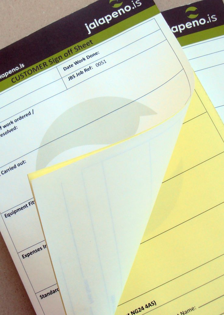 NCR Pads designed and printed for Jalapeno.