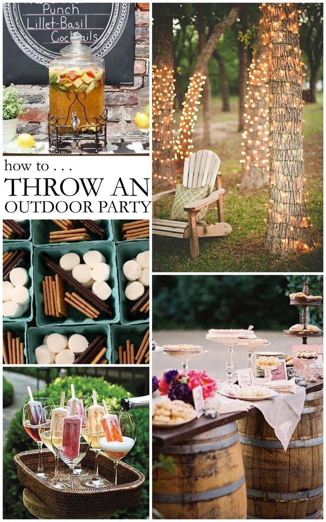 Tips on Throwing a Stylish Outdoor Party - I love the s'more fixings in berry baskets!