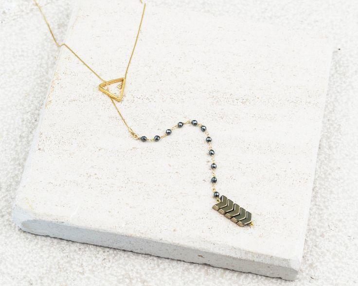 Αrrow lariat necklace Gold Triangle Layering necklace Layered and long Hematite arrow necklace Y Necklace Tie Necklace by TopologyHandmade on Etsy