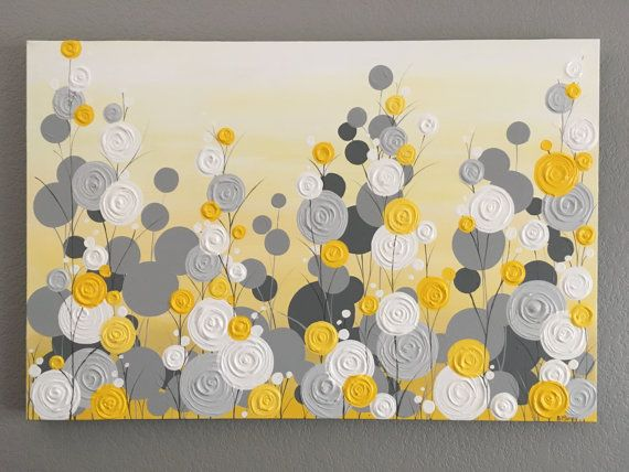 Yellow and Gray Textured Tree Art Diptych Set of Two