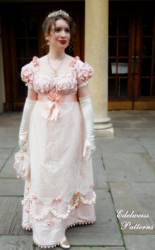 The hand sewn Regency silk ball gown, by Edelweiss Patterns. http://www.edelweisspatterns.com/blog/?p=4310: