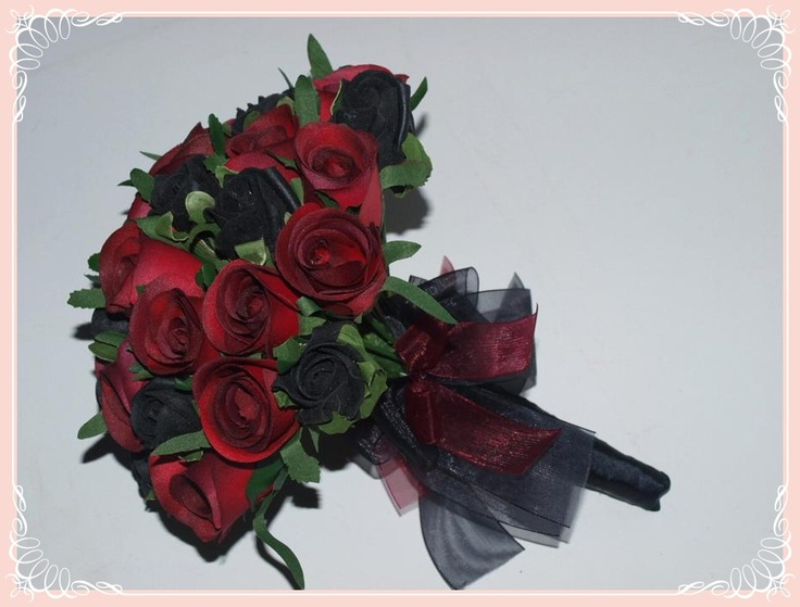 Dark red and black rose bridal bouquet | Gothic Flowers ...