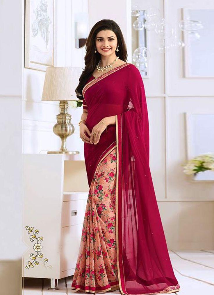 buy saree online Prachi Desai Magenta Georgette Printed Saree Buy Saree online - Buy Sarees online