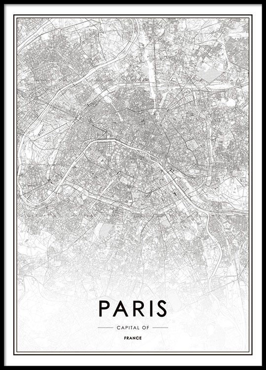 Print with Paris map. Posters and prints with maps