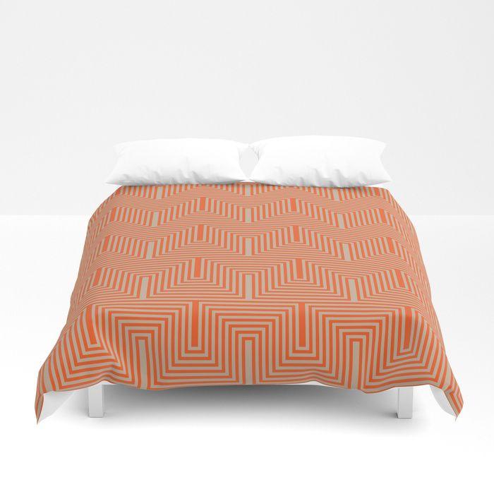 Doors & corners op art pattern in orange and beige Duvet Cover #duvet #duvetcover #bedroom #bedroomdecor #homedecor #society6 #vrijformaat #pattern #design #beige #orange #tan #retro #opart