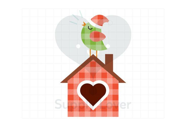 CHRISTMAS BIRD Clip-Art Commercial Use, Birdhouse, Christmas, Bird, Kiss, Songbird, Plaid, Heart, Green, Red, Santa Hat - A0038