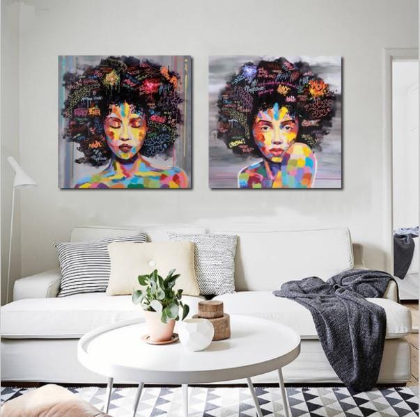 Graffiti street wall art abstract modern african women portrait canvas oil painting on prints