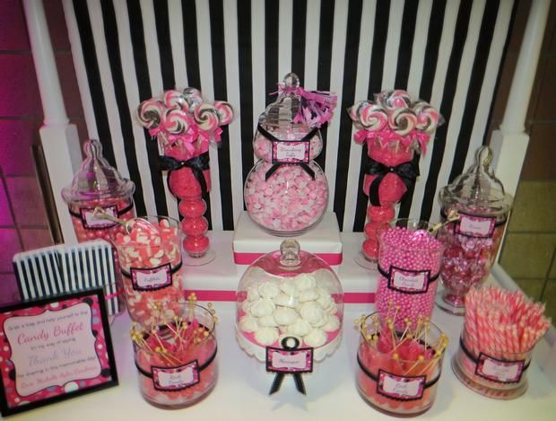 Hostess with the mostess 15th birthday candy buffet for 15th birthday party decoration ideas